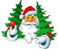 Logo Nikolaus mit Tannenbäumen in den Armen