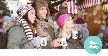 Tannen-Paradies Weihnachtsmarkt mit begeisterten Kunden
