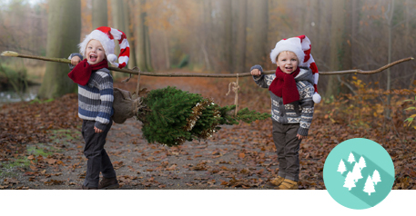 Tannen-Paradies Werbebild mit zwei kleinen Kindern die einen kleinen Baum tragen